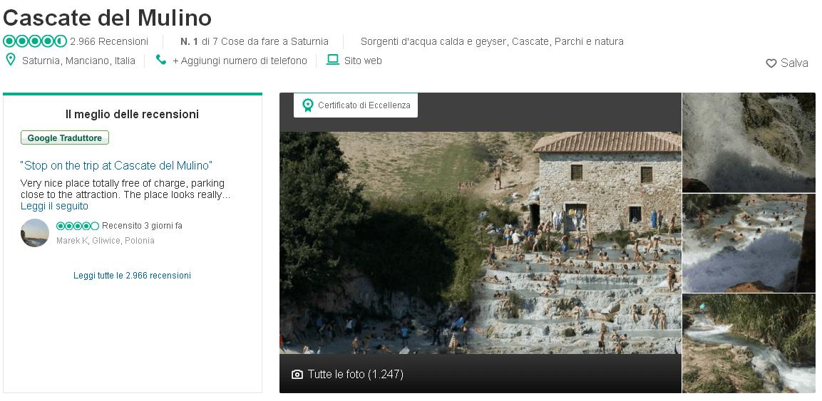 Quasi 3000 recensioni per le nostre Cascatelle su Tripadvisor
